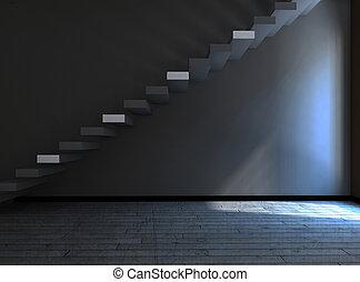 ciemny pokój, 3d, schody