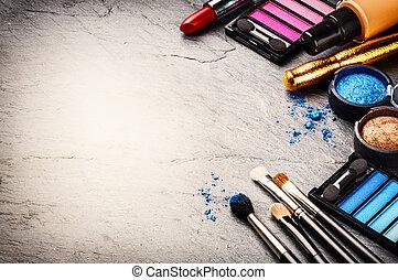 ciemny, różny, makijaż, wyroby, tło