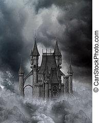 ciemny, zamek