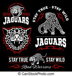 ciemny, zwierzęta, klub, motory, set., -, zwyczaj, t-shirt, tło., wektor, logo, dziki, jaguar