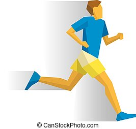cienie, biegacz, biały, maraton, tło