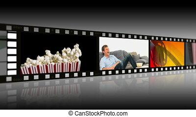 cieszący się, ludzie, montaż, kino