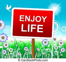 cieszyć się, życie, dodatni, rozradowany, radosny, widać