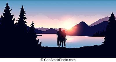 cieszyć się, natura, para, młody, krajobraz, las, rzeka, wschód słońca