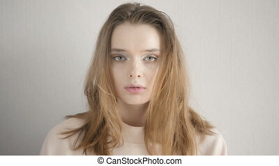 cinemagraph, piękna kobieta, młody, studio, portret