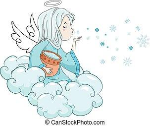 cios, dziewczyna, śniegowy anioł, koźlę