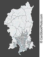cityscape., kioto, szczegółowy, illustration., miasto, wolny, mapa, królewskość, wektor