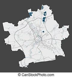 cityscape., szczegółowy, illustration., miasto, erfurt, wolny, mapa, królewskość, wektor