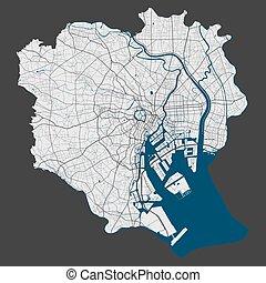 cityscape., szczegółowy, illustration., miasto, tokio, wolny, mapa, królewskość, wektor