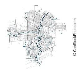 cityscape., szczegółowy, winnipeg, illustration., miasto, wolny, mapa, królewskość, wektor