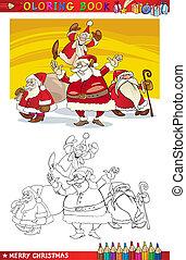 claus, kolorowanie, grupa, rysunek, święty