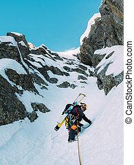 climbing:, alpinista, duri, marszruta, śnieg, lód, skała, mieszany