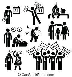 cliparts, pracownik, problem, finansowy