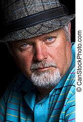 clo, -, senior, kapelusz, kaukaski, człowiek