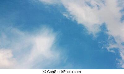 closeup, na, błękitne niebo, chmury, biały