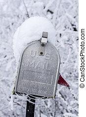 closeup, zima, na, skrzynka pocztowa