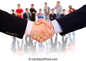 closeup, zrobienie, agreement., siła robocza, businesspeople, obraz, potrząsanie