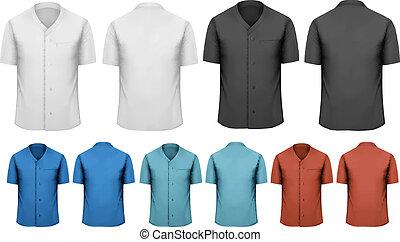 clothes., barwny, czarnoskóry, komplet, wektor, praca, biały