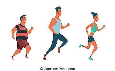 clothes., race., lekkoatletyka, inny, atletyka, wyścigi, trudny, mężczyźni, każdy, kobiety, uczestnicy, ludzie, ubrany, wypadek, maraton, grupa, outrun