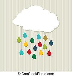 cloud., abstrakcyjny, wektor, twórczy