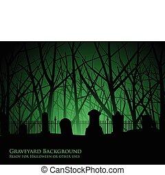 cmentarz, drzewa, tło