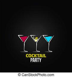 cocktail, menu, szkło, projektować, tło, partia