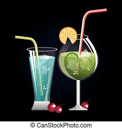 cocktaili, menu, spis, bar