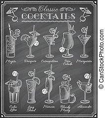 cocktaili, sławny, tablica, ilustracje, menu