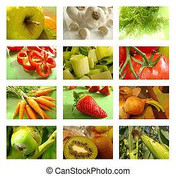 collage, żywienie, zdrowe jadło