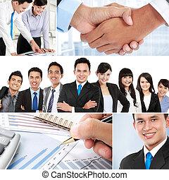 collage, asian handlowy, ludzie