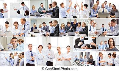 collage, dużo, handlowe biuro, ludzie