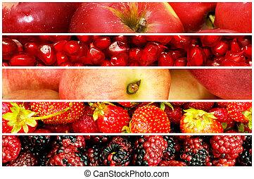 collage, dużo, warzywa, owoce
