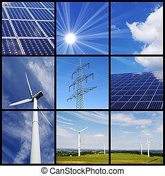 collage, energia, zielony