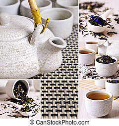 collage, fotografie, czarna herbata