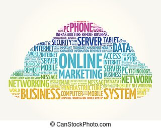 collage, handel, słowo, chmura, online