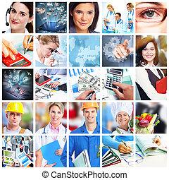 collage., handlowy zaludniają