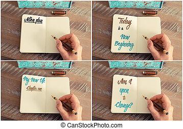 collage, handwritten, wiadomości, motivational, fotografia