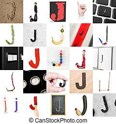 collage, j, litera