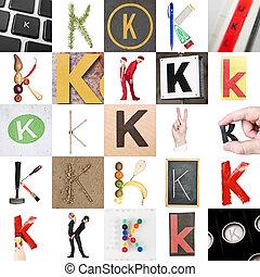 collage, k, litera