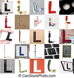 collage, l, litera