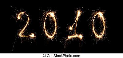 collage, liczba, brylant, rok, nowy, 2010