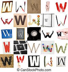 collage, litera, w