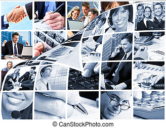 collage., ludzie handlowe, drużyna