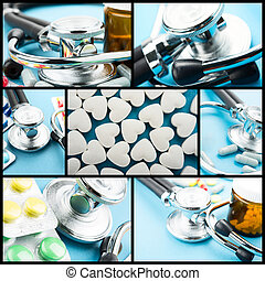 collage, medyczny, temat