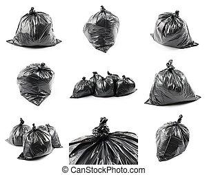 collage, mnóstwo, czarnoskóry, odpadki