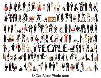 collage, odizolowany, ludzie