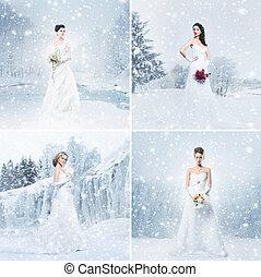 collage, panny młoda, zima