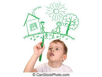collage, pióro, rysunek, odczuwany-cynk, rodzina, chłopiec, jego