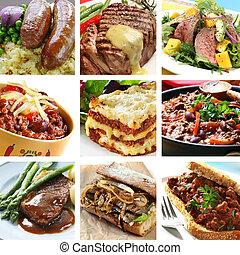 collage, posiłki, wołowina