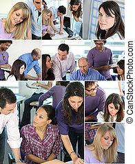 collage, pracownicy, zajęte biuro